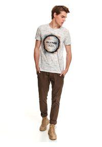 Beżowy t-shirt TOP SECRET na spacer, krótki, wakacyjny, na jesień
