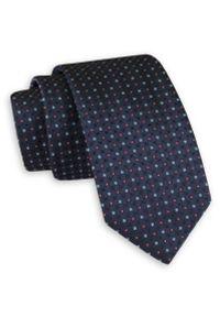 Granatowy Elegancki Krawat -Angelo di Monti- 6 cm, Męski, w Kratkę. Kolor: niebieski. Wzór: kratka. Styl: elegancki