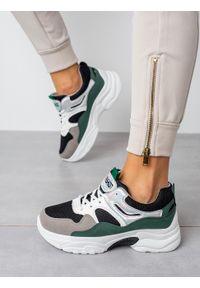 Casu - Wielokolorowe buty sportowe sneakersy sznurowane casu 20h3/g. Okazja: na co dzień. Kolor: czarny, wielokolorowy, szary. Materiał: skóra ekologiczna, materiał. Szerokość cholewki: normalna