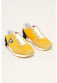 Żółte sneakersy Pepe Jeans na sznurówki, z cholewką