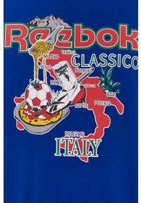 Niebieska bluzka Reebok Classic z nadrukiem, na co dzień, casualowa