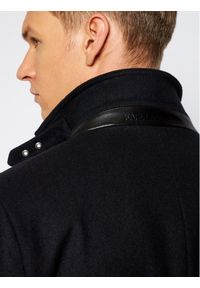 Czarny płaszcz przejściowy Karl Lagerfeld z dekoltem karo #9