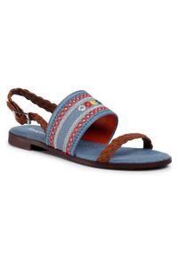Niebieskie sandały Desigual z aplikacjami, na co dzień, casualowe
