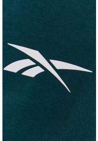 Reebok - Bluza. Kolor: zielony. Materiał: dzianina, poliester. Wzór: nadruk