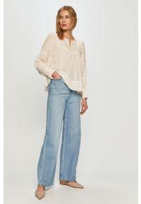 Kremowa bluzka Pepe Jeans z długim rękawem, gładkie