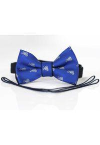 Modini - Niebieska mucha w błękitne motocykle A290. Kolor: niebieski. Materiał: bawełna, tkanina, poliester. Styl: elegancki