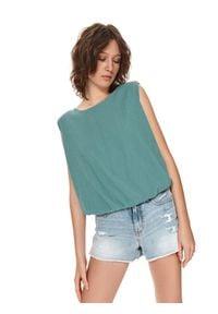 TOP SECRET - T-shirt bez rękawów z gumką w pasie. Kolor: zielony. Materiał: dzianina. Długość rękawa: bez rękawów. Długość: długie. Sezon: lato