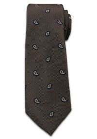 Elegancki Krawat Męski, Wzór Paisley, Nerka, Łezka - Chattier, Brązowy. Kolor: beżowy, brązowy, wielokolorowy. Materiał: tkanina. Wzór: paisley. Styl: elegancki