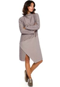 Szara sukienka asymetryczna MOE z golfem