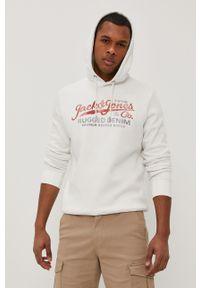 Biała bluza nierozpinana Premium by Jack&Jones na co dzień, casualowa, z kapturem