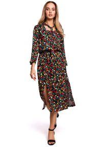 MOE - Sukienka Midi w Kwiatki z Rozcięciem z Przodu - Model 6. Materiał: wiskoza. Wzór: kwiaty. Długość: midi
