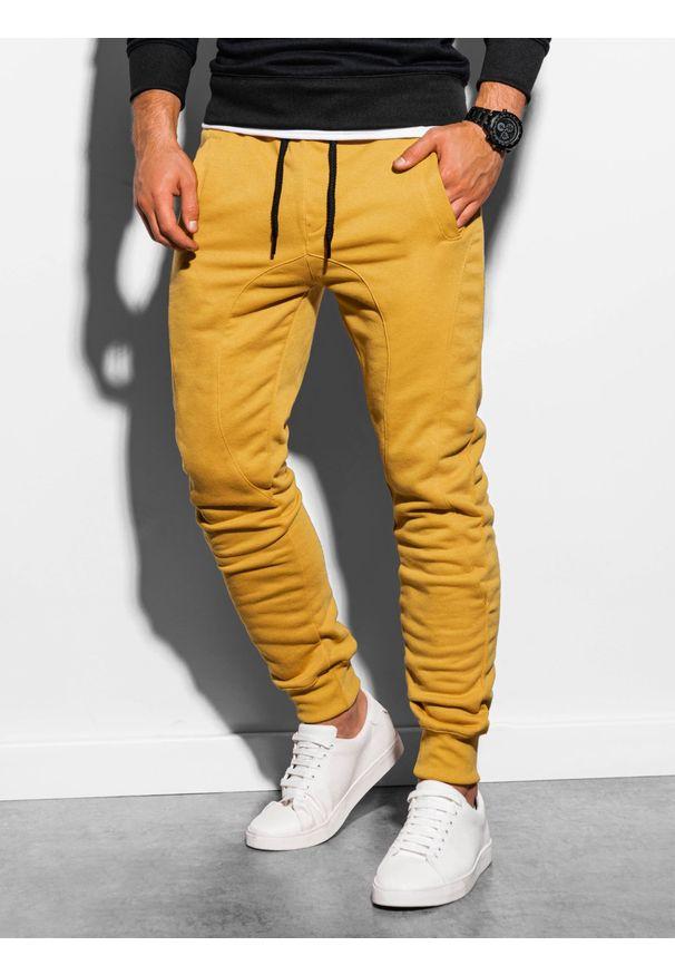 Ombre Clothing - Spodnie męskie dresowe joggery P867 - żółte - XXL. Kolor: żółty. Materiał: dresówka