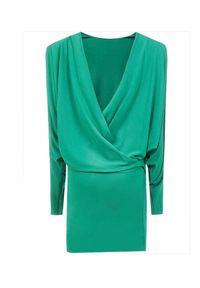 ALEXANDRE VAUTHIER - Zielona sukienka z odkrytymi plecami. Kolor: zielony. Materiał: materiał. Długość rękawa: długi rękaw. Długość: mini