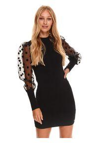 TOP SECRET - Sukienka z ozdobnymi rękawami w grochy. Kolor: czarny. Wzór: grochy. Typ sukienki: koszulowe