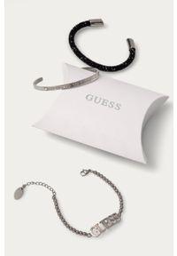 Srebrna bransoletka Guess z kryształem, z aplikacjami, ze stali