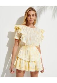 LOVE SHACK FANCY - Żółta mini sukienka Natasha. Typ kołnierza: kołnierz z falbankami. Kolor: żółty. Materiał: bawełna, koronka. Wzór: aplikacja. Typ sukienki: dopasowane. Długość: mini