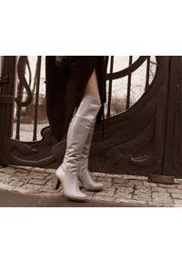 Szare kozaki Zapato z cholewką za kolano, na randkę, klasyczne, na jesień