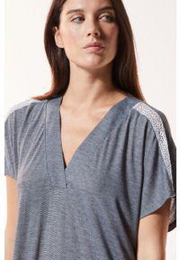 Etam - Koszula nocna WARM DAY. Kolor: biały. Materiał: dzianina, koronka. Długość: krótkie