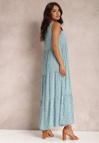 Renee - Niebieska Sukienka Callalura. Kolor: niebieski. Materiał: tkanina, wiskoza. Długość rękawa: bez rękawów. Wzór: kropki. Sezon: lato. Długość: maxi