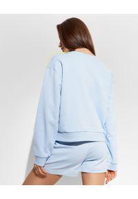 Ice Play - ICE PLAY - Niebieska bluza z falbanką. Kolor: niebieski. Materiał: bawełna. Długość: długie. Wzór: nadruk