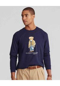 Ralph Lauren - RALPH LAUREN - Granatowa koszulka z misiem Polo. Okazja: na co dzień. Typ kołnierza: polo. Kolor: niebieski. Materiał: jeans, bawełna. Długość rękawa: długi rękaw. Długość: długie. Wzór: nadruk. Styl: klasyczny, casual