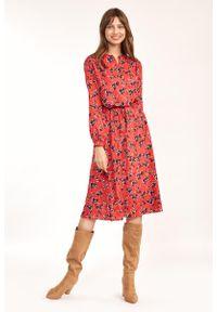 Nife - Rozkloszowana Midi Sukienka w Kwiatowy Wzór - Czerwona. Kolor: czerwony. Materiał: elastan. Wzór: kwiaty. Długość: midi
