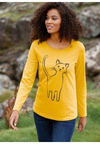 Żółta bluzka bonprix długa, z nadrukiem, z długim rękawem