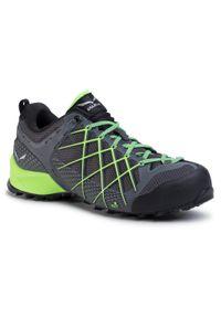 Szare buty trekkingowe Salewa trekkingowe, z cholewką