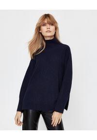 NANUSHKA - Granatowy sweter Pippa. Typ kołnierza: golf. Kolor: niebieski. Materiał: kaszmir, prążkowany, wełna. Sezon: jesień