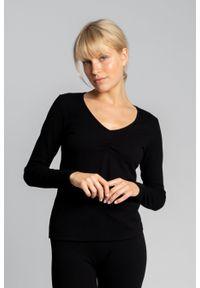 MOE - Bluzka Bawełniana z Długim Rękawem - Czarna. Kolor: czarny. Materiał: bawełna. Długość: długie