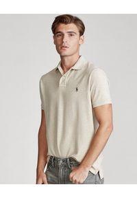 Ralph Lauren - RALPH LAUREN - Beżowa koszulka polo Mesh Custom Fit. Typ kołnierza: polo. Kolor: beżowy. Materiał: mesh. Długość: długie. Wzór: haft