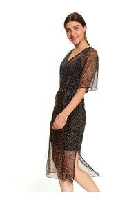 TOP SECRET - Sukienka kimono z dekoltem w serek. Typ kołnierza: dekolt w serek. Kolor: czarny. Długość rękawa: na ramiączkach. Wzór: motyw zwierzęcy, gładki. Sezon: jesień, zima. Styl: elegancki. Długość: midi