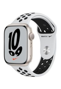 APPLE - Smartwatch Apple Watch Nike 7 GPS 45mm aluminium, księżycowa poświata | platyna/czarny pasek sportowy. Rodzaj zegarka: smartwatch. Kolor: czarny. Styl: sportowy