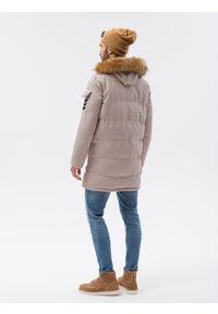 Ombre Clothing - Kurtka męska zimowa C514 - beżowa - XXL. Kolor: beżowy. Materiał: poliester. Sezon: zima