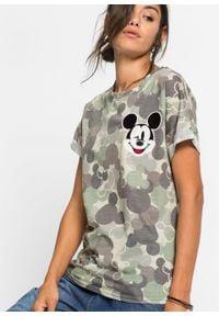 Shirt w deseń moro i z motywem Myszki Miki bonprix zielono-brązowy moro. Kolor: zielony. Długość rękawa: krótki rękaw. Długość: krótkie. Wzór: moro