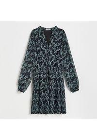 Reserved - Sukienka z drobnym wzorem - Turkusowy. Kolor: turkusowy
