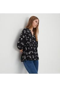 House - Wzorzysta bluzka z wiskozy - Czarny. Kolor: czarny. Materiał: wiskoza