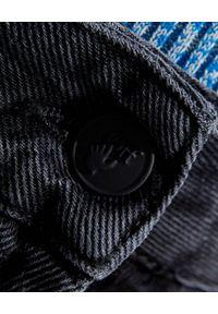 OFF-WHITE - Proste jeansy ze wstążkami. Stan: podwyższony. Kolor: czarny. Wzór: aplikacja