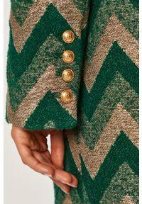 Zielony płaszcz Pinko na co dzień, casualowy, z włoskim kołnierzykiem