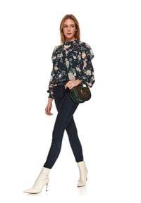 TOP SECRET - Jeansowe spodnie z gumą w pasie. Kolor: niebieski. Materiał: jeans, guma. Długość: długie. Sezon: wiosna. Styl: elegancki