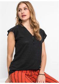 Shirt lniany z rękawami falbanowymi bonprix czarny. Kolor: czarny. Materiał: len