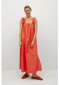 mango - Mango - Sukienka bawełniana Delos. Kolor: czerwony. Materiał: bawełna. Długość rękawa: na ramiączkach