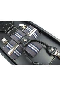 Modini - Szare szelki w granatowo-białe paski SZ34. Kolor: niebieski, biały, wielokolorowy, szary. Materiał: skóra, guma. Wzór: paski