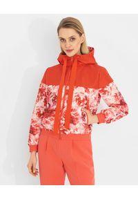 Czerwona kurtka Elisabetta Franchi długa, w kwiaty