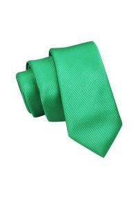 Wąski Krawat, Zielony, Trawiasty Śledź Męski, 5 cm, w Drobny Prążek, Jednokolorowy -Angelo di Monti. Kolor: zielony. Materiał: tkanina. Wzór: prążki. Styl: wizytowy, elegancki
