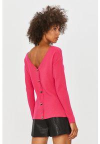 Różowy sweter Morgan z długim rękawem, casualowy, na co dzień, długi