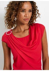 Sukienka szyfonowa w optyce warstwowej bonprix czerwony. Typ kołnierza: dekolt woda. Kolor: czerwony. Materiał: szyfon. Styl: elegancki