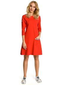 Czerwona sukienka dresowa MOE trapezowa