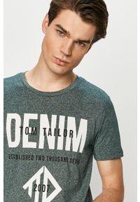 Zielony t-shirt Tom Tailor casualowy, z nadrukiem, na co dzień