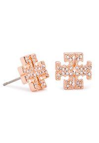 Tory Burch Kolczyki Crystal Logo Stud Earring 53423 Różowy. Kolor: różowy